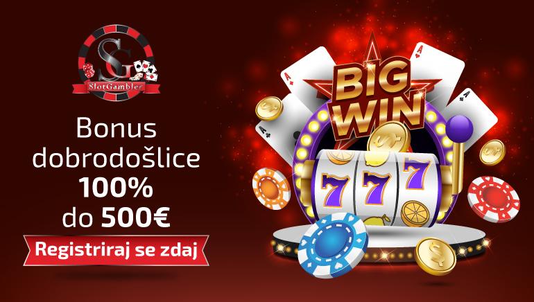 Igralnica Slotgambler Casino opozarja nase s 100-odstotnim bonusom vse do 500 €