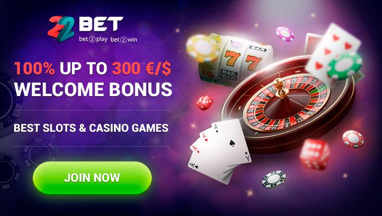 22Bet Casino - BONUS DOBRODOŠLICE €300 - 100% Ujemajoči bonus - Minimalni polog: €1