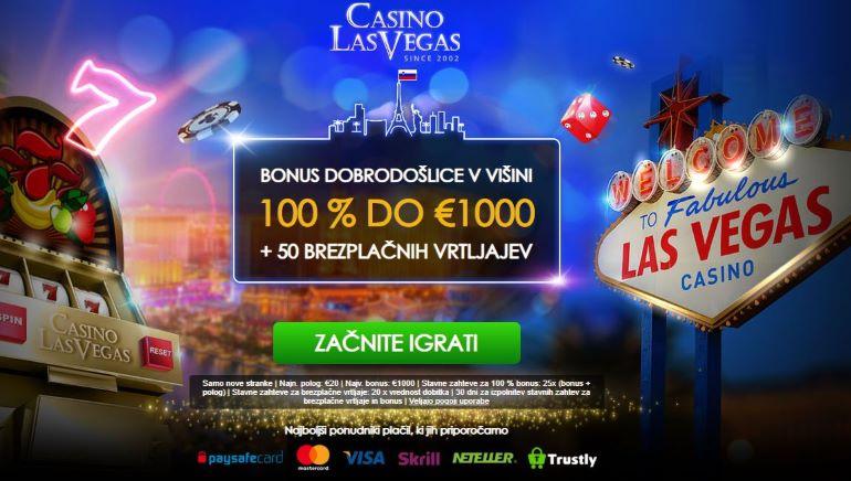 V igralnici Casino Las Vegas vas čaka 100-odstotni bonus do 1000 € in 50 brezplačnih vrtljajev