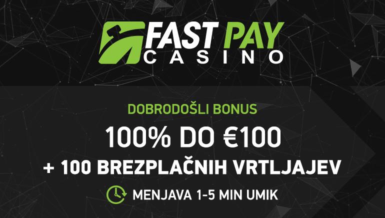 100 € bonusa in 100 brezplačnih vrtljajev za nove igralce v igralnici FastPay Casino
