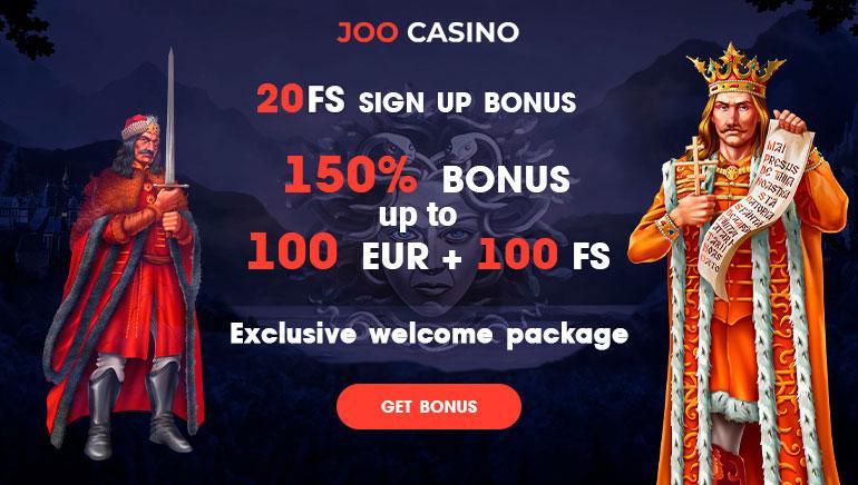 Joo Casino - BONUS PAKET €450, BONUS BREZPLAČNIH VRTLJAJEV 150 Bonus za brezplačno igranje na avtomatih, BREZ POLOGA FS20 Bonus z brezplačnim denarjem
