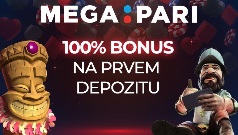 Megapari Casino igralcem ob registraciji ponuja 100 % bonusa do 100 €