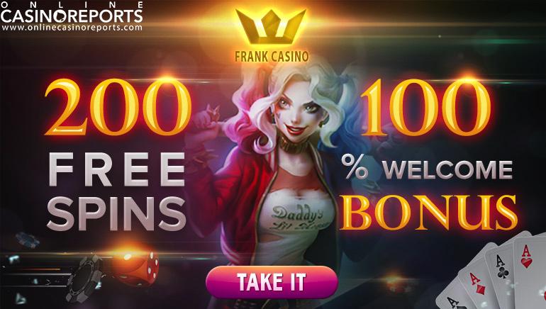 Izkoristite 200 brezplačnih vrtljajev in uživajte v odlični ponudbi iger v igralnici Frank Casino